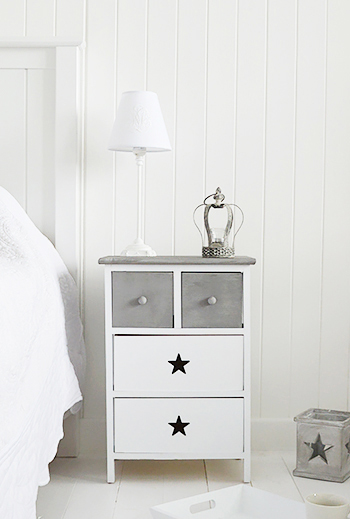 Grey and white bedside table, cabinet with drawers for bedroom furniture