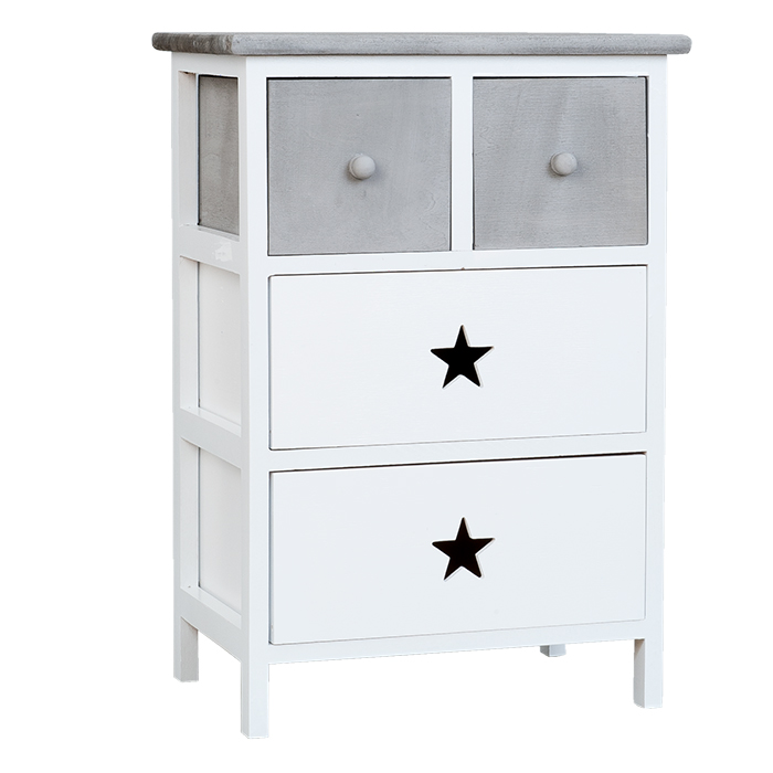 Plymouth white and grey wooden star bedside table