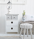 Plymouth Grey and White Bedside cabinet with 4 drawers