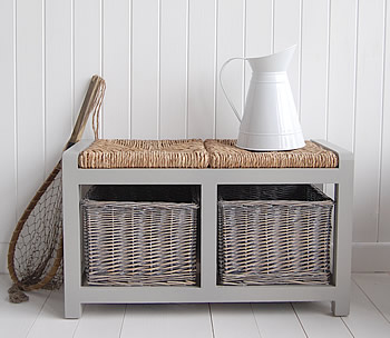 A grey storage seat with baskets hall furniture for Furniture 30cm deep
