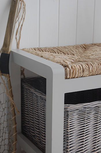A Long Grey Storage Seat With Baskets Hall Furniture