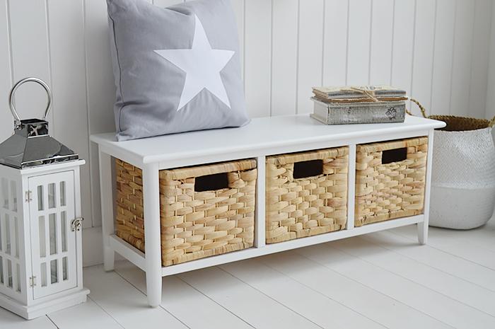 Portland white storage bench with baskets