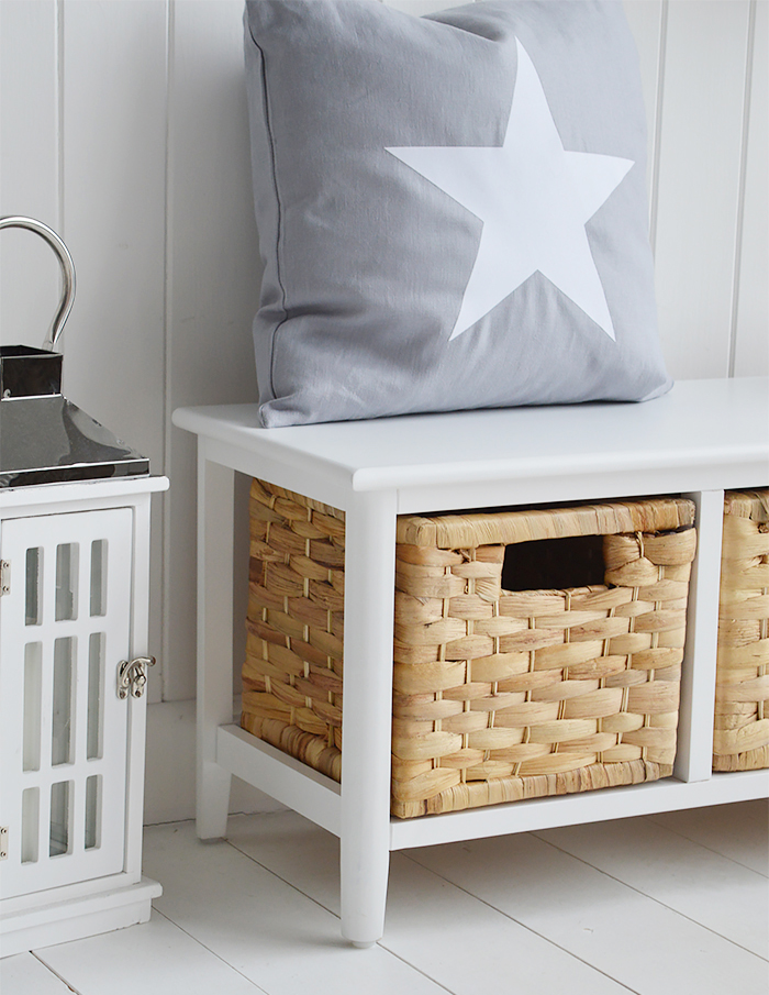 Portland Small Storage Seat With Baskets Hall Furniture