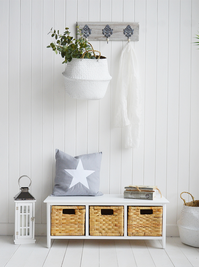 Potland white small hallway storage bench. Baskets are a great idea for storing shoes