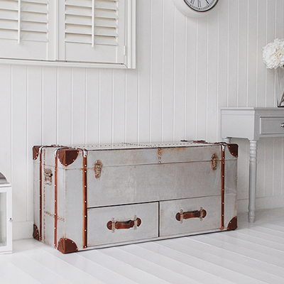 Manhattan silver storage bench trunk for hallway storage