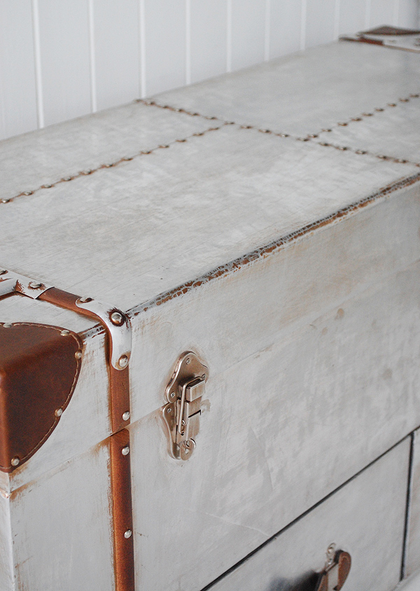 New England hall furniture from The White Lighthouse - A storage bench close up photograph