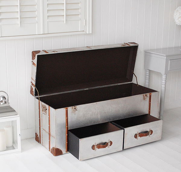 New England hall furniture from The White Lighthouse - A storage bench side photograph open