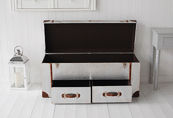 New England hall furniture from The White Lighthouse - A storage bench  shows open for hall furniture ideas