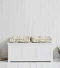 New England White Storage Bench