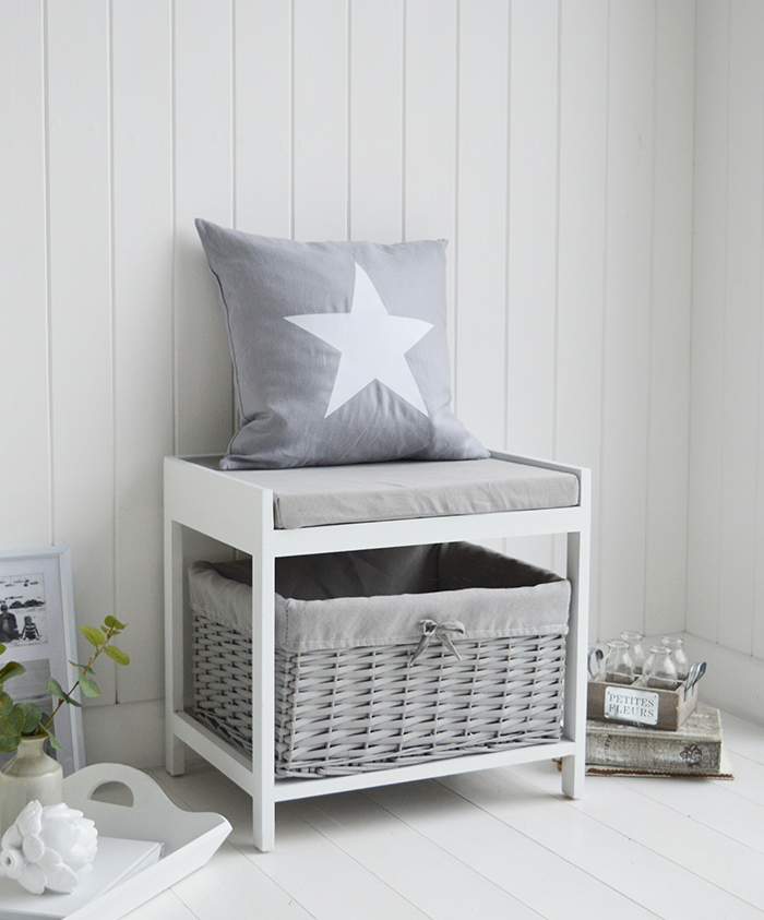 The Plymouth storage seat with white surround, painted grey lined large basket and grey cushion with removable cover The hand woven and painted baskets create excellent storage for every room in your home. Ideal as hallway furniture or porch for shoe storage