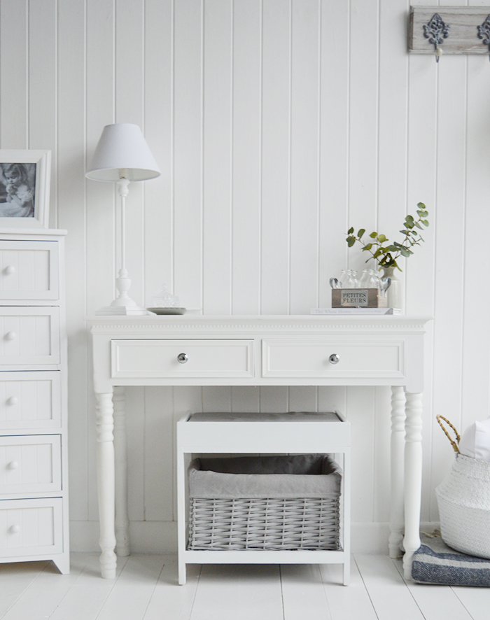 The Plymouth white and grey dressing table stool, with a large basket to store toiletries and make up