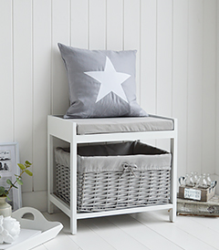 Small Hallway Storage seat bench in white and grey with cushion and basket for keeping shoes