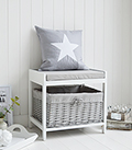 Plymouth white and grey storage seat with large basket perfect for dressing table