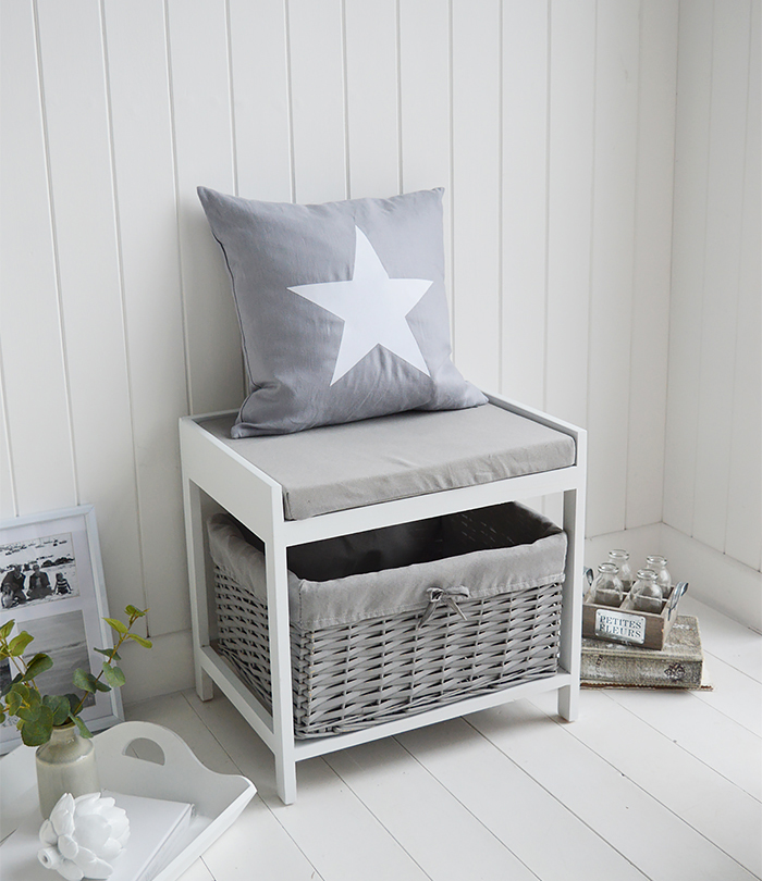 White and Grey small Storage seat hall bench from The White Lighthouse with cushion and large basket for shoes