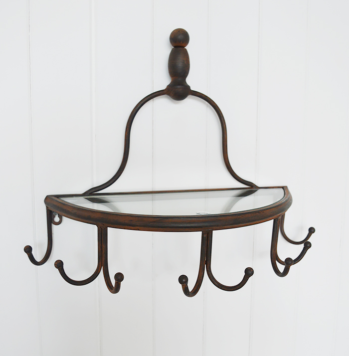 Sanford wall shelf with 8 hooks ideal for hallway furniture  for coat storage in New England country and coastal home interiors