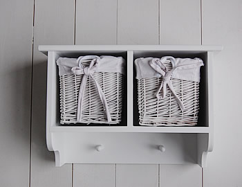 A White Wall Shelf With 2 Baskets And Hanging Pegs Hall Furniture