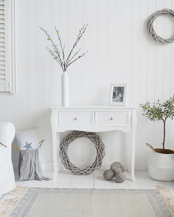 Artificial Grey Pussy Willow single Branch on the Falmouth White Console Table