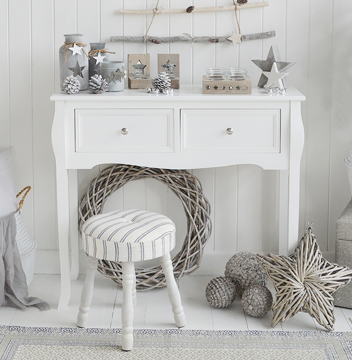 Falmouth narrow white console table with drawers for hallway furniture. A perfect table in cottage, country, coastal, french or New England style homes