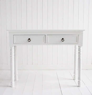 New England white Console Table with Antique Brass handles Hall