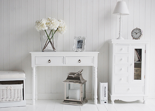 A white console table new england hall furniture image - White hall table uk ...
