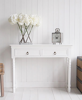 new england white console table with antique brass handles. Black Bedroom Furniture Sets. Home Design Ideas