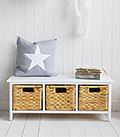 White Storage Bench with baskets - Shoe Storage for proches or Halls