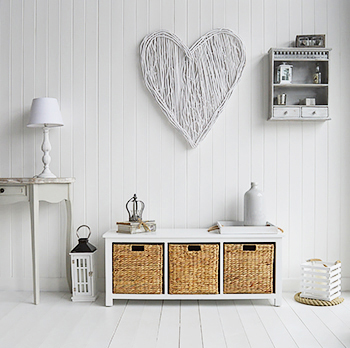 White Hallway Furniture, a storage bench with three baskets for shoe storage for white interiors