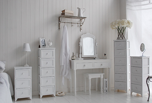 Maine range of white bedroom furniture pieces, these give great storage for small bedrooms