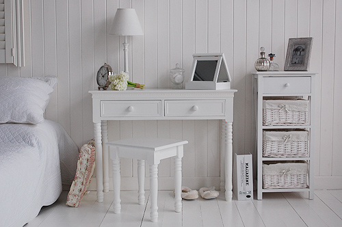 simply a stool and dressing table in your white bedroom