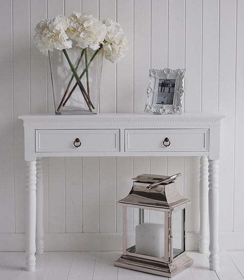 White New England Hallway Console Table