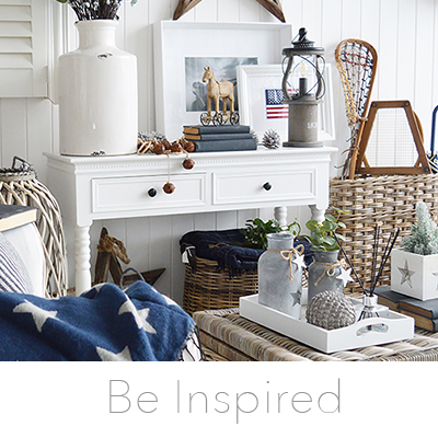 Be Inspired with ideas in decorating a white home with New England coastal and countyy furniture. Living room, hallway, bedroom, bathroom. Lots of ideas in interior design