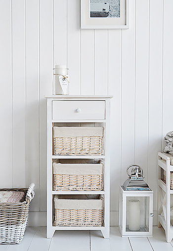 Cape Cod White Wash Storage Furniture with 4 drawers
