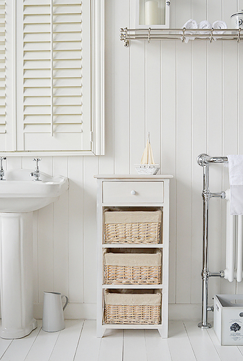 Cap Cod Bathroom tall storage cabinet with 4 drawers