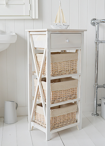 Cap Cod white wash tall storage furniture with 4 drawers for bathroom