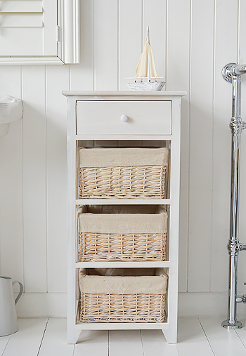 Cap Cod Bathroom tall storage cabinet with 4 drawers and baskets