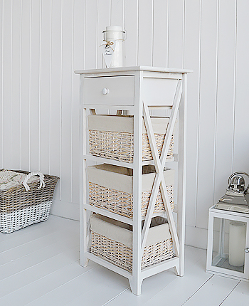 Cap Cod white wash tall storage furniture with 4 drawers