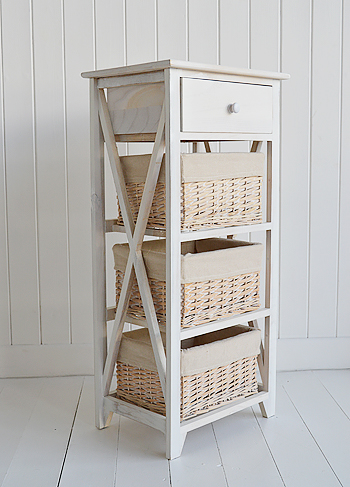 Cape Cod White Wash Storage Furniture with 4 drawers for bedroom furniture