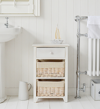 Cape Cod White Bathroom Storage Furnitue With 3 Drawers And Baskets