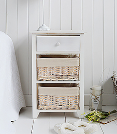 Cape Cod Bedside Cabinet in White Wash Finish with 3 drawers