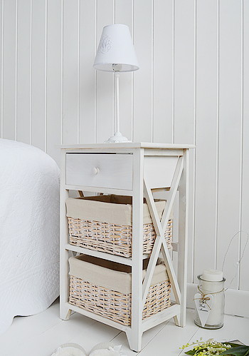 Large Cap Cod bedside table in white wash drawers