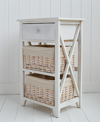Large Cap Cod bedside table in white wash side