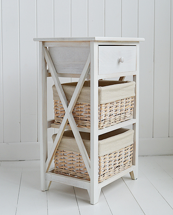 Large Cap Cod bedside table in white wash storage furniture