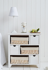 Cape Cod wide six drawer bedside table