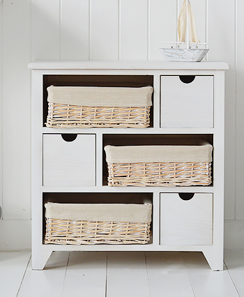 Cape Cod white wash bedroom storage cabinet from The White Lighthouse Furniture