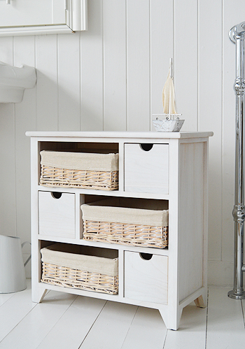 Cape Cod white wash bathroom storage furniture