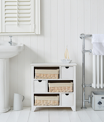Cape Cod white wash bathroom storage