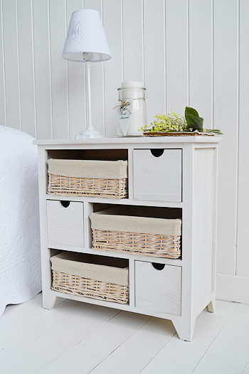 Cape Cod wide bedside table with 6 drawers