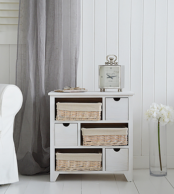 Cape Cod New England white wash living room storage furniture