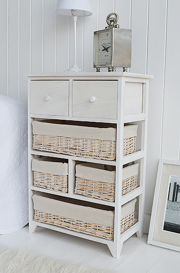 Cape Cod large storage furniture with 6 drawers including baskets large bedside table or lamp table from The White Lighthouse Furniture