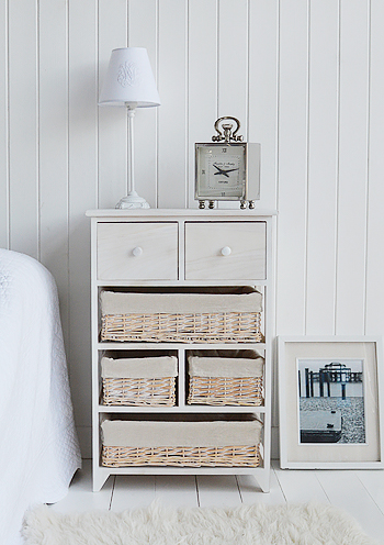 Cape Cod large storage furniture with 6 drawers including baskets as a large bedside from The White Lighthouse Furniture